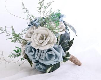 Book Bouquet - Ready to Ship - Sweet Love Paper Flower Bouquet - Literary Gift - First Anniversary - Elopement Bouquet