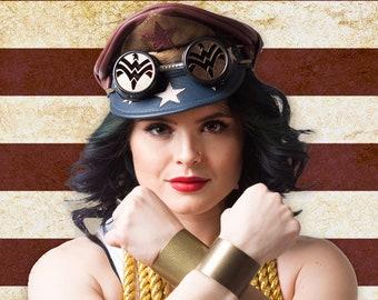 Vintage Wonder Woman Inspired Crush Cap & Goggles
