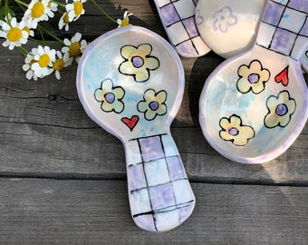 Pottery Scoop with Boho Flowers and Purple Checkers -  Porcelain Coffee Scoop - Ceramic Spoon Kitchen Decor - by DirtKicker Pottery