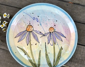 Porcelain Art Plate with Watercolor Echinacea Flowers - Handmade 10 inch Dinner Plate - by DirtKicker Pottery