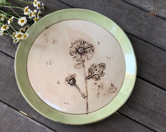 Porcelain Botanical Art Plate in Sepia and Lime - Vintage Style Dinner Plate - 10 inch Plate -  by DirtKicker Pottery