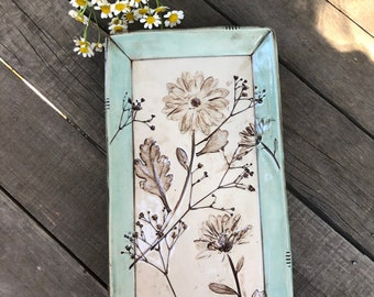 Porcelain Tray with Botanical Flowers - Vintage Style Pottery Tray Plate - by DirtKicker Pottery