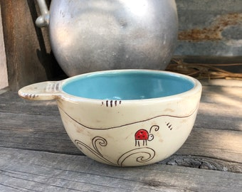 Porcelain Art Bowl with Red Flowers - Dessert Bowl  - Ladybug and Stars - Farmhouse Style - by DirtKicker Pottery