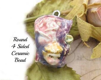 Focal Bead - necklace bead -  Ceramic Pendant -  OOAK bead - people bead - pendant bead -   # 157