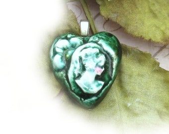 Cameo bead - Focal Bead, Handmade bead - , Ceramic pottery bead - clay cameo bead - Lady Cameo bead - # 11
