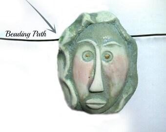Tiki Bead, flat bead, Ceramic bead, Focal necklace bead , handmade clay bead,     # 92