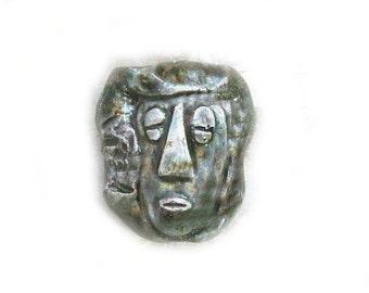 Tiki bead - tribal bead - Ceramic beads - African face bead - Hawaiian bead - focal bead -     # 3