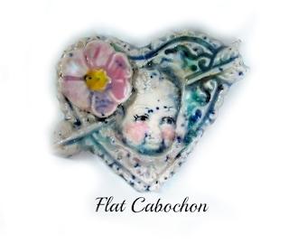 ceramic heart bead, cabochon bead, handmade pottery clay cabochon , Artisan made focal jewelry supply    # 55