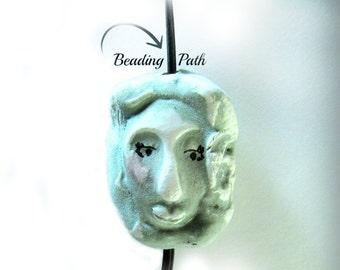 Tiki Bead, clay bead, Ceramic bead, Focal necklace bead , handmade clay bead,     # 93