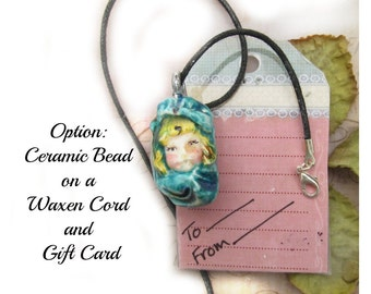 OOAK bead - people bead - pendant bead -Focal Bead - necklace bead -  Ceramic Pendant -     # 168