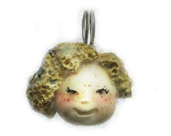 2 sided pendant,,ceramic pendant,  pendant necklace, face pendant, face bead -  dog pendant,    # 180