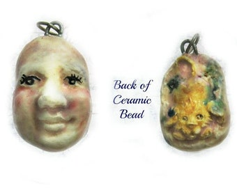 face bead -ceramic bead - pottery bead, 2 sided bead - - handmade clay bead - Focal bead,  OOAK bead -     # 173