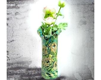 Handmade ceramic vase, ceramic flower vase, pottery flower vase, Shabby Chic Vase, Home Décor vase, # 150