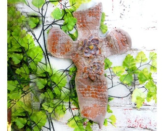 wall hanging Christian cross - Religious wall cross - handmade one of a kind wall cross -pottery cross -ceramic cross- religious gift, # 61