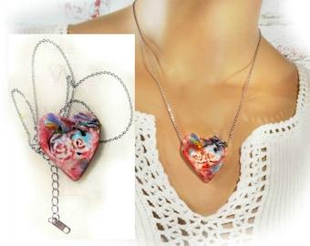 Heart necklace - Pink Heart  necklace -  unique necklace - Pendant necklace - one of a kind necklace - gift necklace  # 151