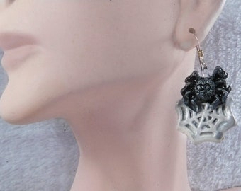 spider earrings- Black spiderweb earrings- spider web cobweb- witchy jewelry- goth aesthetic- gothic - Halloween earrings jewelry  # 30