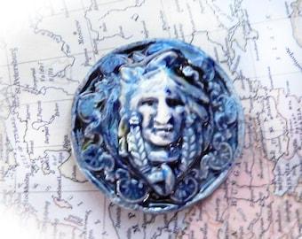 Indian face cabochon -Ceramic cabochon , OOAK cabochon supply - face cabochon supply - flat cabochon,  blue cabochon, clay cabochon,   # 195