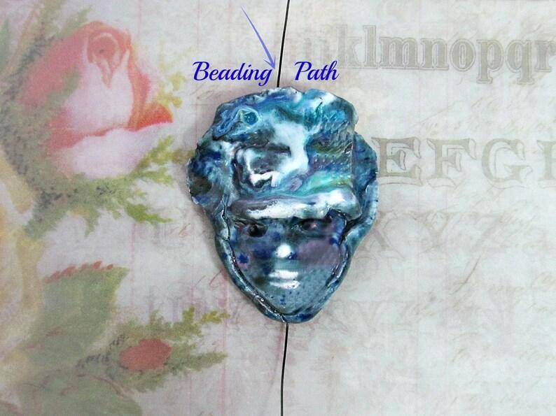 Ceramic bead clay beads pottery beads Focal Bead Handmade bead # 12 Face Bead