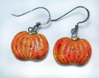 Handmade Pumpkin earrings -Orange Pumpkin Jewelry, Fall Jewelry, Fall Earrings, Thanksgiving Earrings, Halloween Earrings    # J 49