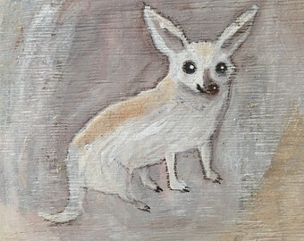 Painting on reclaimed wood of a chihuahua dog