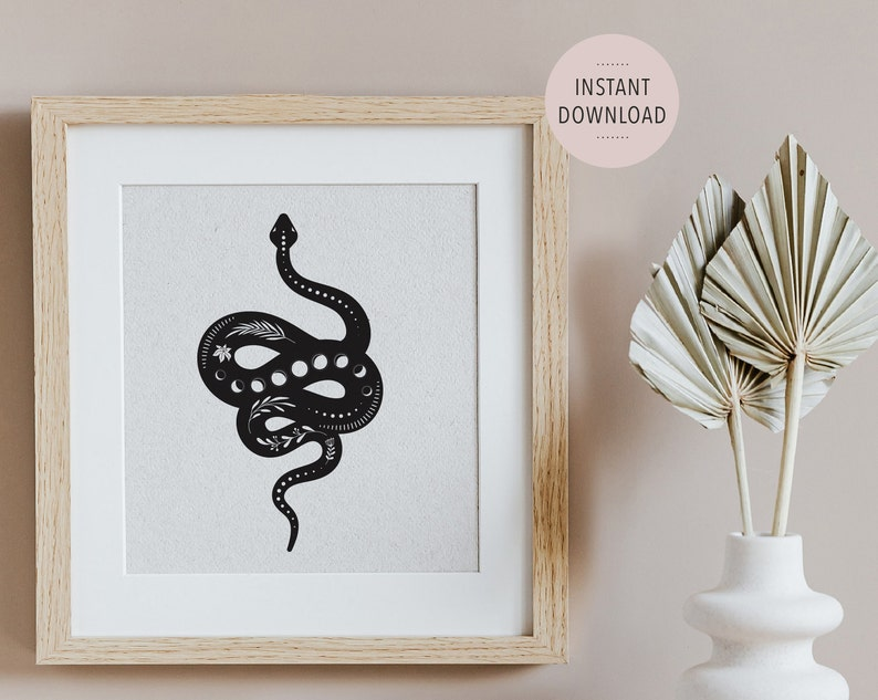Phases of the Moon Wall Art Esoteric Serpent with Moon Phases Print Linoprint Snake Wall Art Moon Phase Snake Art in Lino Print style