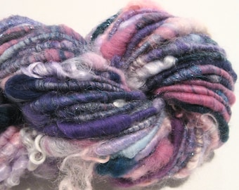 Super Bulky Handspun yarn Ever After 56 yards corespun art yarn teal green purple pink knitting supplies crochet supplies doll hair