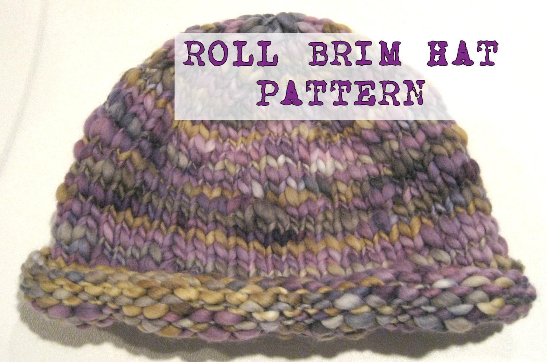 933e112871e Wicked Easy 38 Row Knit BULKY Roll Brim Hat Pattern Handspun