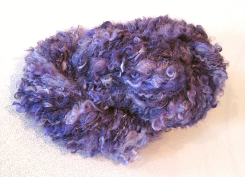Purple Locks Handspun Yarn 80 yards Super Bulky yarn hand dyed  mohair locks art yarn  knitting supplies crochet supplies waldorf doll hair