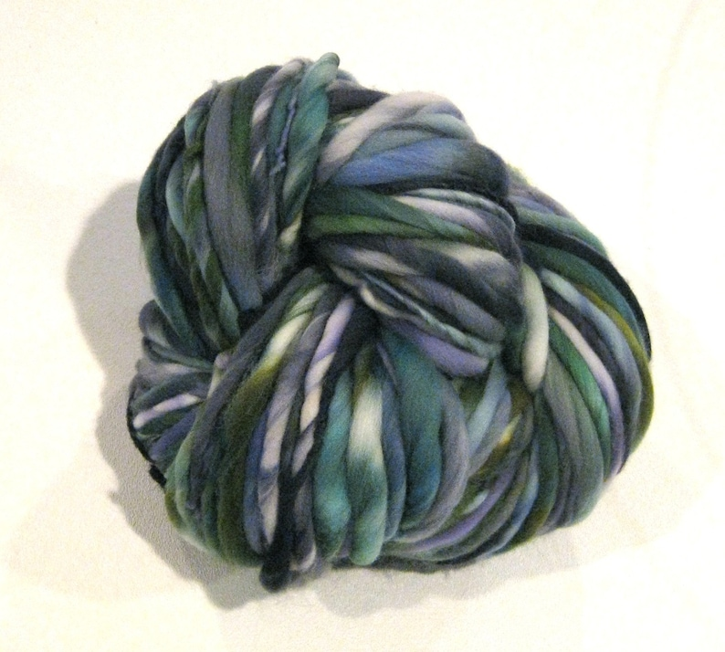 Super Bulky Handspun Yarn From A Distance 90 yards hand dyed wool blue yarn green yarn waldorf doll hair knitting supplies crochet supplies