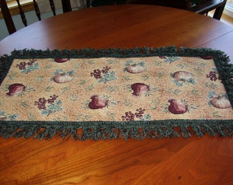 Hand Made Tapestry Pumpkin Thanksgiving 30 X 15 inch Table Topper