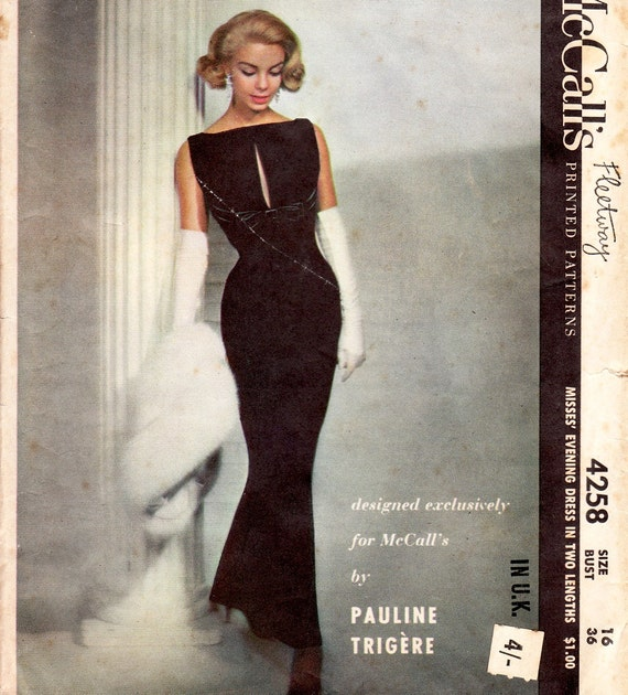 Pauline Trigere McCalls 4258 vintage 50s evening dress sewing pattern bust 36