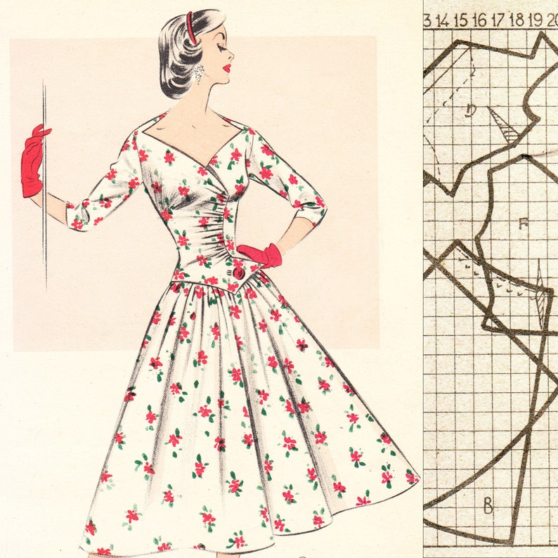 PDF of 50s fashions – pattern drafting system – Summer 1956 - instant download