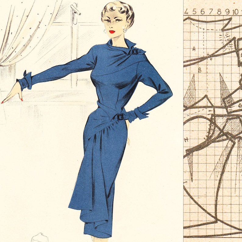 PDF of 50s fashions – pattern drafting system – Winter 1951 - instant download
