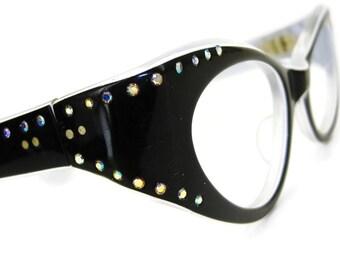 d305581e910 Vintage Rhinestone Cat eye Glasses Eyeglasses or Sunglasses Frame Bling NOS