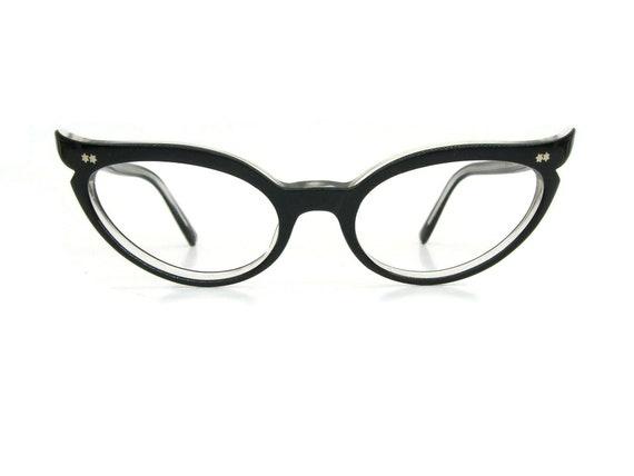 46-24-140 French Tapered Square Horn Rim Cat Eye Glasses Eyeglass 50/'s Vintage NOS Frames Double Star Studs OOAK HORACE E I  France