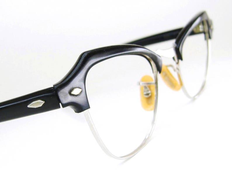 a94c8a821c Vintage Black Cat Eye Eyeglasses Frame 12kt gf Bausch Lomb