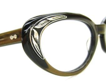 Vintage Olive Green Cat Eye Glasses Eyeglasses Sunglasses Atomic Frame