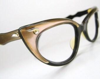 Vintage Satin Brown Cat Eye Glasses Eyeglasses Sunglasses Frame
