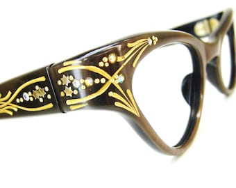 Vintage Pearly Brown Cat eye Glasses Eyeglasses Frame NOS