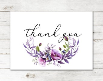 e9b5f4b51c4 Bridal Shower Wedding Thank You Cards and Envelopes with Natural Watercolor  Violet Purple Flowers TYB8047