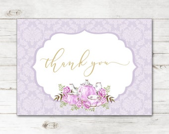 24f2cfab469 Bridal Shower Wedding Thank You Cards and Envelopes with Watercolor Teapot  Tea Party High Tea in Lavender and Gold TYB8036