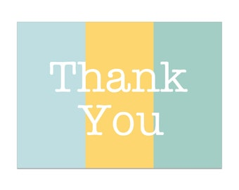 Digital Download Thank You Cards in Teal Yellow Coral Typewriter Font Simple Text Print at Home Instant Printable 5 x 7 Cards DTY20022
