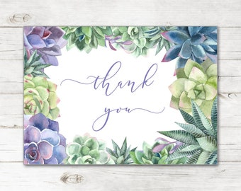 0cc44d478b3 Bridal Shower Wedding Thank You Cards and Envelopes with Watercolor Cactus  Succulents Plants in Green and Lavender TYB8025
