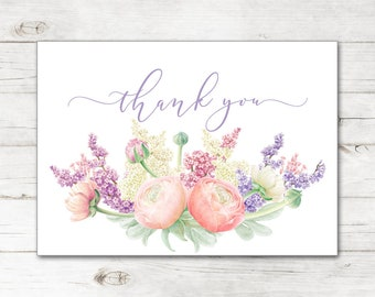 4222fb419c7 Bridal Shower Wedding Thank You Cards and Envelopes with Watercolor Spring  Flowers Bouquet in Lavender and Gold TYB8026