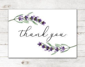 1442d732eda Bridal Shower Wedding Thank You Cards and Envelopes with Natural Watercolor  Lavender Flowers Tree Branch TYB8011