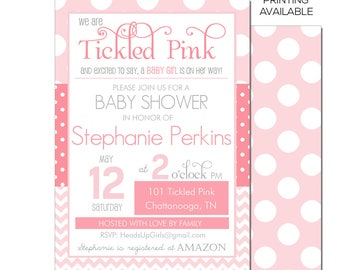 Personalized Tickled Pink Baby Shower Invitations and Envelopes One Dozen Printed NV101