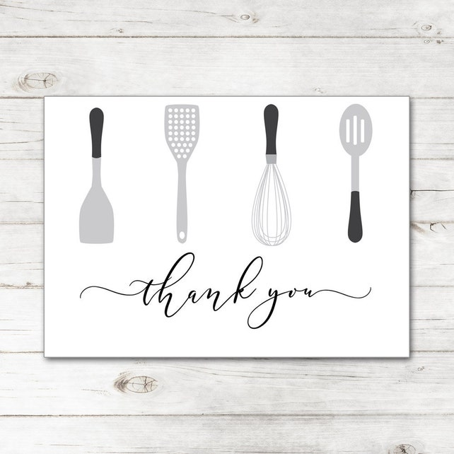 Bridal Kitchen Shower Wedding Thank You Cards and Envelopes with Cooking Serving Baking Utensils in Black and Gray TYB8022