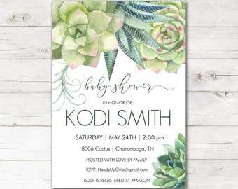 Personalized Baby Shower Invitations and Envelopes with Watercolor Cactus Plants in Neutral Green NV8006