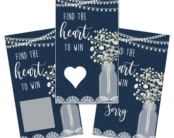 Set of 12 Scratch Off Game Cards with Denim Blue Jeans Lace, Mason Jar Lights and Flowers Scratchers CSC045