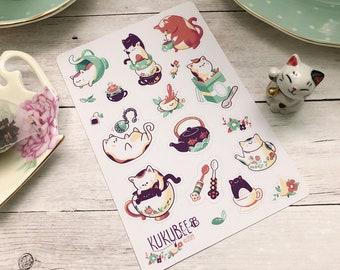 Tea Kitties Kiss Cut Sticker Sheet